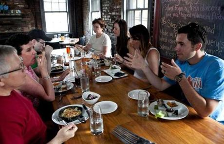 The group ate lunch at Ten Center Street Restaurant and Pub during the Taste Newburyport food tour.